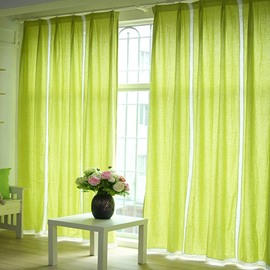 Light Green Splicing Cotton and Linen Custom Curtain