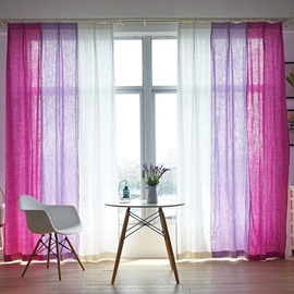 Pink Purple and White Three Colors Splicing Cotton and Linen Custom Curtain