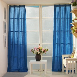 Royal Blue Splicing Cotton and Linen Custom Curtain