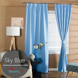 Contemporary Concise Solid Blue Polyester Custom Curtain