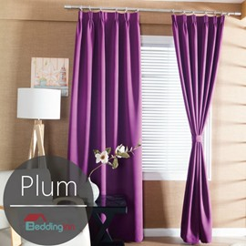 Contemporary Concise Solid Plum Polyester Custom Curtain
