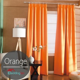 Contemporary Concise Solid Orange Polyester Custom Curtain