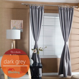 Concise Solid Dark Grey Polyester Blackout Custom Curtain