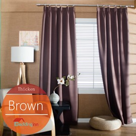 Concise Solid Brown Polyester Blackout Custom Curtain