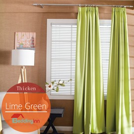 Concise Solid Lime Green Polyester Blackout Custom Curtain