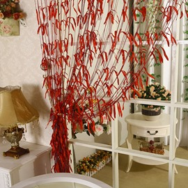 Romantic Red Willow Leaf Design Custom String Curtain