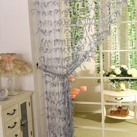 Romantic Grey Willow Leaf Design Custom String Curtain