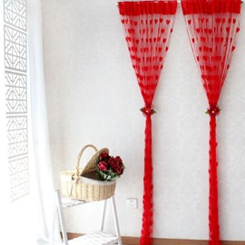 112-Inches Length Romantic Heart Design Custom String Curtain