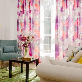 Contemporary Country Style Floral Printed Cotton and Linen Blending Custom Curtain