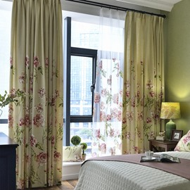 Country Style Beautiful Peony Printing Custom Curtain