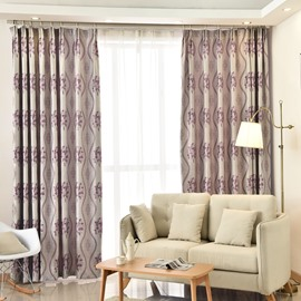 Luxury Purple Leaves Pattern Blackout Custom Curtain