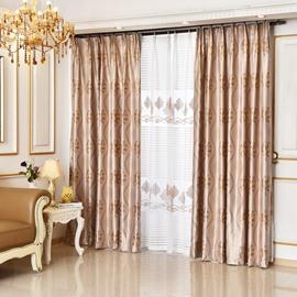 Luxury Leaves Pattern Coffee Color Custom Curtain
