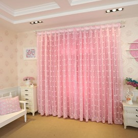 Decoration Polyester Butterflies Pink Style Light Lining Sheer Curtain Sets