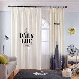 Dust-Proof and Blackout Polyester Cotton Digital Printing New York City Modern Style Curtain
