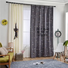 Decorative Polyester Digital Printing Stars Romantic Style 2 Panels Curtain