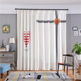 Decorative and Blackout Polyester Red Heart and Cross Digital Printing Concise Style Curtain