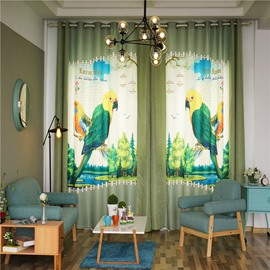 Decorative Blending Digital Printing Symmetrical Parrots Country Style Grommet Top Curtain