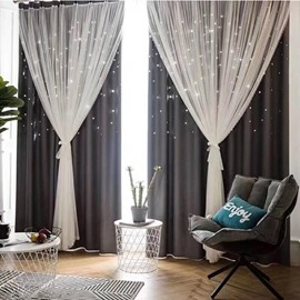 Modern Romantic Hollowed-out Star Princess Double Pinch Pleat Faint Glow to Create Dreamlike Atmosphere 80% Shading Rate and Good Ultraviolet-proof Effect