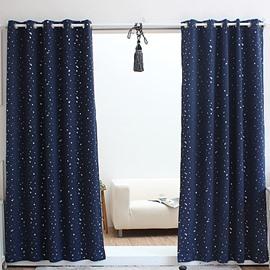 Glamorous Navy Blue with White Spot Grommet Top Custom Curtain