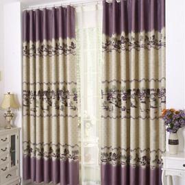 New Style Bridge over Flowing Stream Grommet Top Custom Curtain