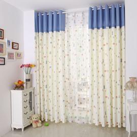 Lovely Little Houses Print Two-piece Grommet Top Custom Curtain