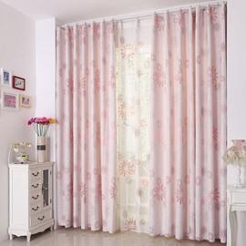 Fabulous Elegant Pink Sunflower Pattern Grommet Top Two-piece Custom Curtain