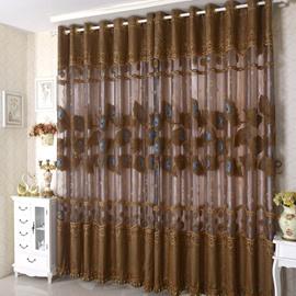 Coffee Color Decorative Lace Border Grommet Top Custom Curtain
