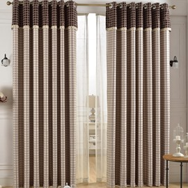 Grand Light Coffee Color Checker Grommet Top Custom Curtain