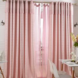 Super Lovely Pink Jacquard Flower Cinderella Grommet Top Custom Curtain