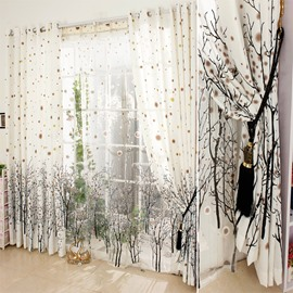 Decoration Vivid Tree Printed Custom Polyester Grommet Top Living Room Curtain