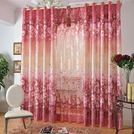 65 Romantic Pink Roses Print Grommet Top Curtain