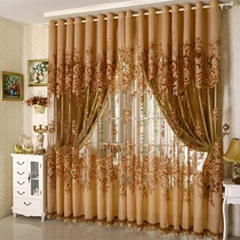 Custom Blackout Curtains for Living Room Bedroom Classical Gold Peony Grommet Curtains Drapes No Pilling No Fading No off-lining