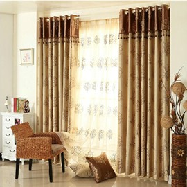 High Shading Degree Blue and Beige 2-Pieces Jacquard Grommet Top Curtain