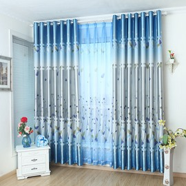 Decoration Fancy Blue Plant Printing Grommet Top Curtain