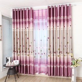 Cute Dandelion Design Pink Purple Color Scheme Grommet Top Curtain
