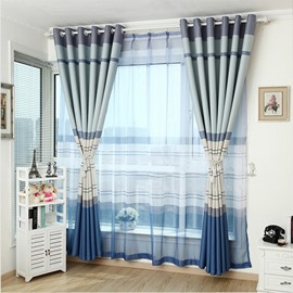 Modern Home Fashion Stripes Print Grommet Top Curtain