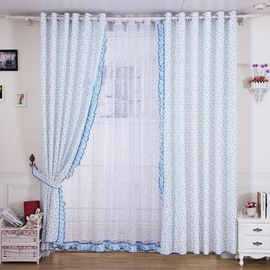 Korean Style Cute Hearts Design Grommet Top Curtain