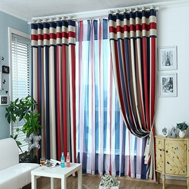Blackout Stylish Multi Color Stripe Grommet Top Curtain