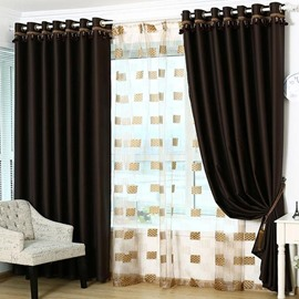 Functional Sunlight Blocking Solid Color Grommet Top Curtain