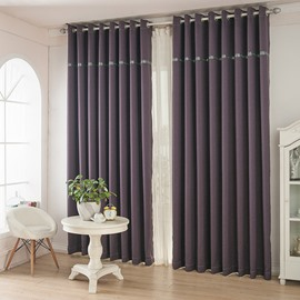 Blackout and Dust-Proof Polyester Japanese Style Solid Purple Grommet Top Curtain