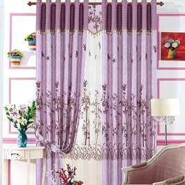 Elegant Purple Color Tree Pattern Flocking Grommet Top Curtain