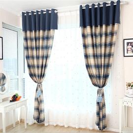 Linen Blue and Beige Plaid Grommet Top Custom Curtain