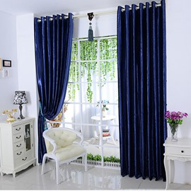 Dark Blue Solid Blackout Grommet Top Curtain & Drapes