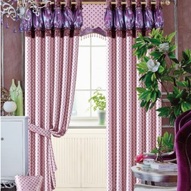 Modern Home Fashion Cinderella Purple Little Dots Printing Grommet Top Curtain