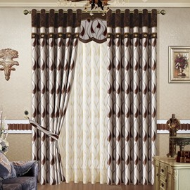 Stylish Waves Pattern Jacquard Grommet Top Curtain