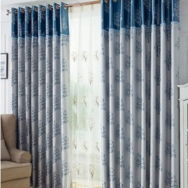 Stylish Blue Tree Pattern Duplex Jacquard Grommet Top Curtain