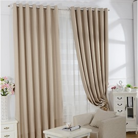 Elegant Beige Concise Style Modern Home Decoration Grommet Top Curtain