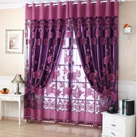 Amazing Deep Purple Floral Printing Sheer & Shading Cloth Curtain Set