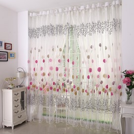 White Elegant Beautiful Dandelion Grommet Top Sheer and shading cloth curtain sets