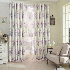 Beautiful Floral Ptinted Cotton Linen Grommet Top Curtain